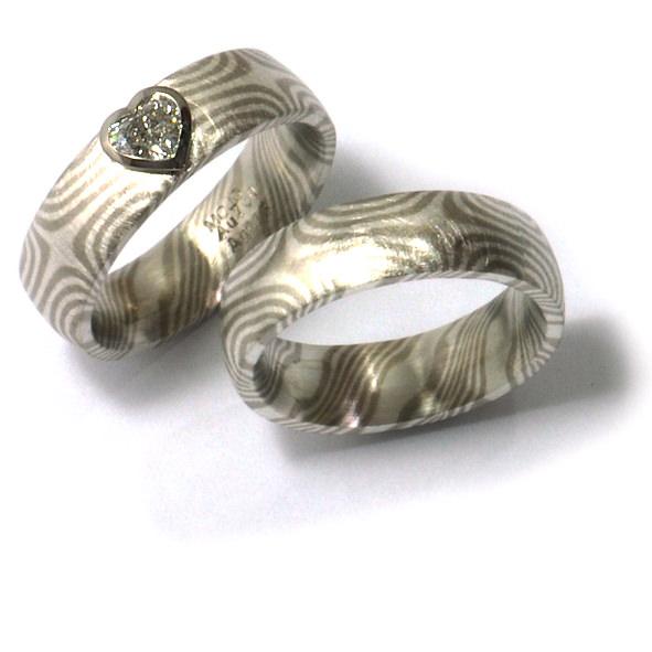 Eheringe Mokumegane Weissgold Silber Diamant Herz (1006056)