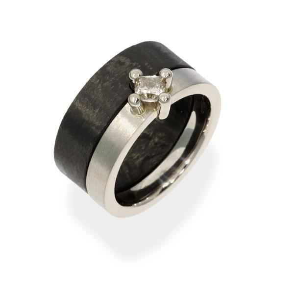 Verlobungsring Weissgold Fairtrade Carbon Diamant (1008169)