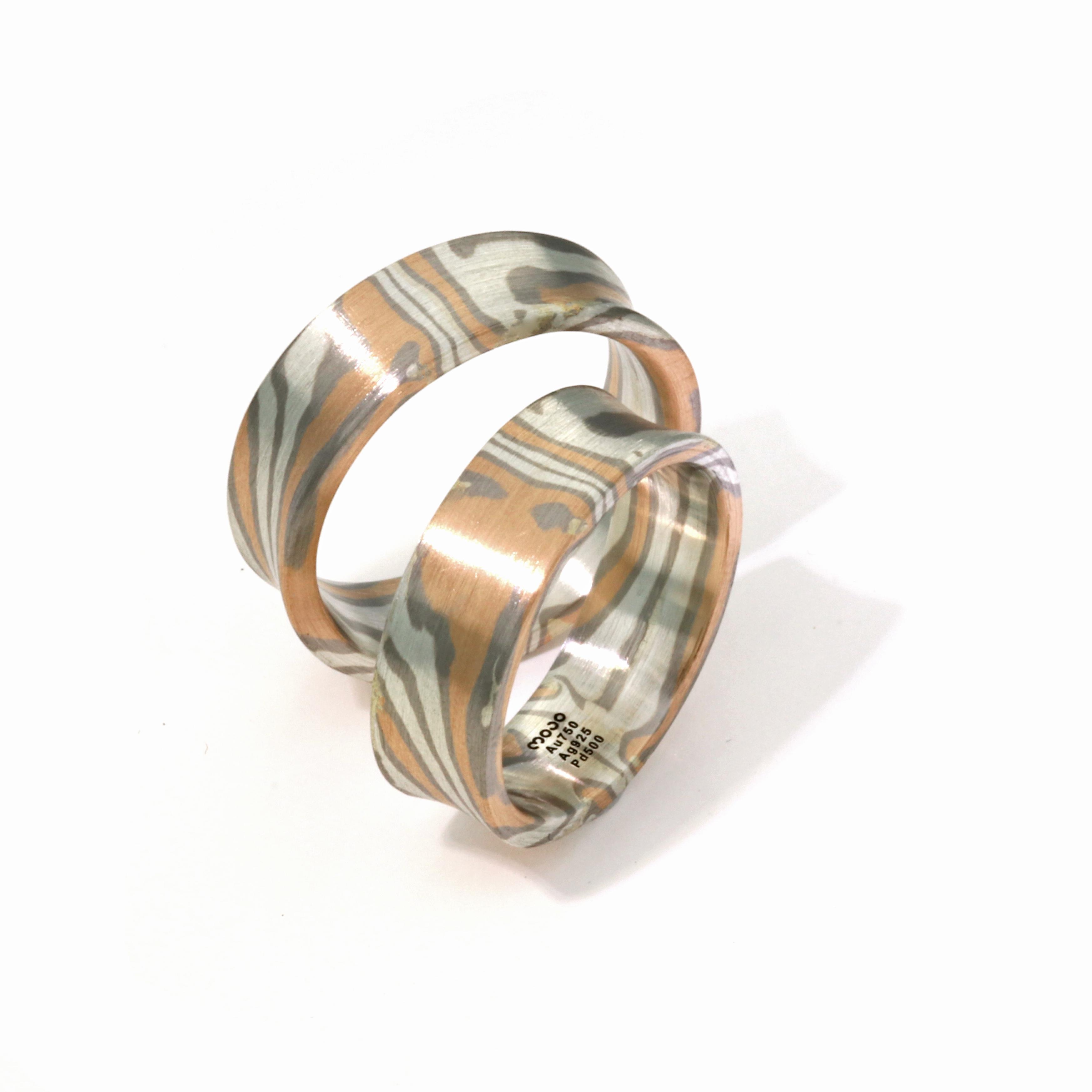 Ehering Mokume Gane Rotgold Silber Palladium (1008447)