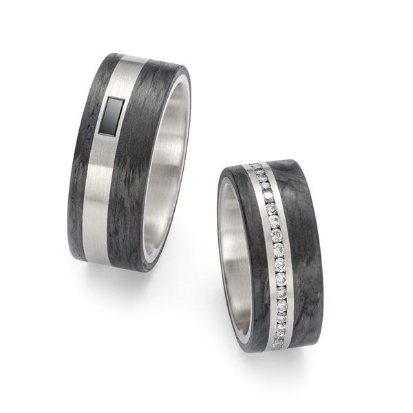 Eheringe Weissgold Carbon Brillanten Diamant (250014)