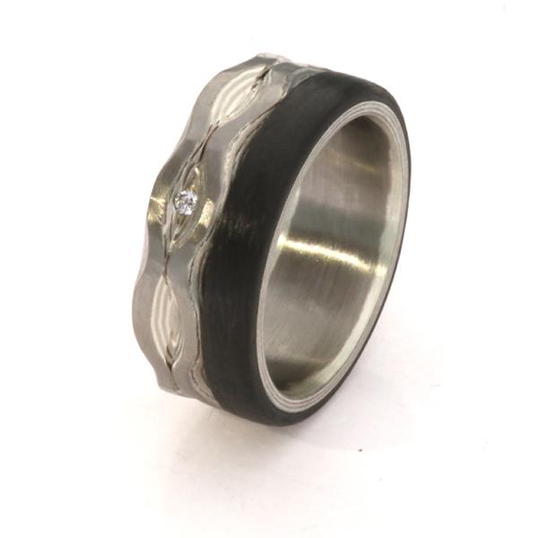 Damenring Mokumegane Palladium Silber-Carbon Brillant Verlobungsring (251079)